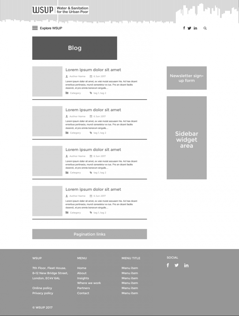 WSUP blog page wireframe