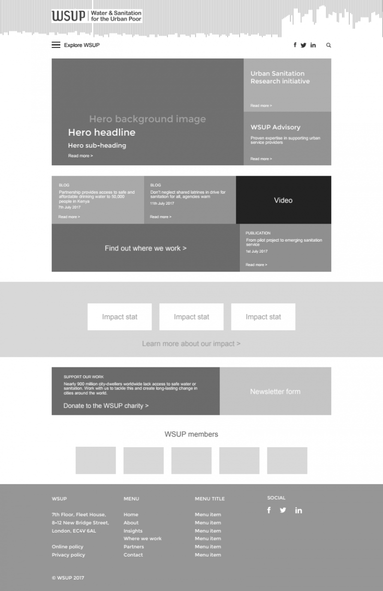 WSUP home page wireframe