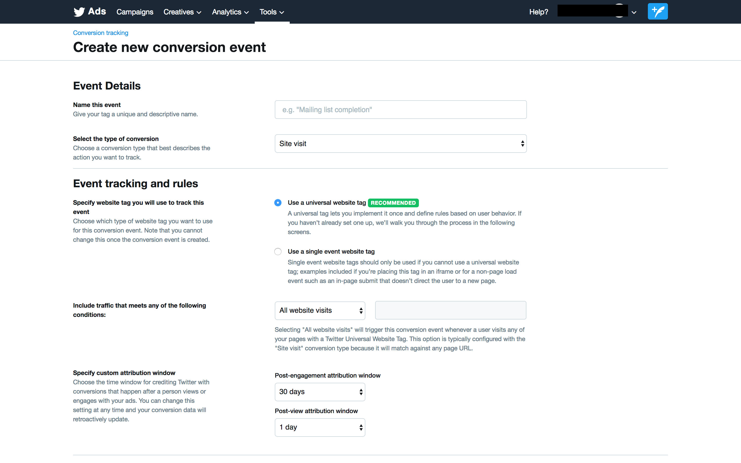 """Create new conversion event"" screen for Twitter Ads"