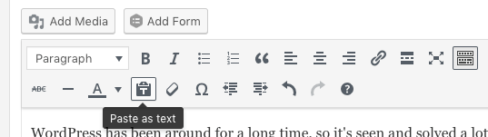 The 'Paste as text' button in WordPress