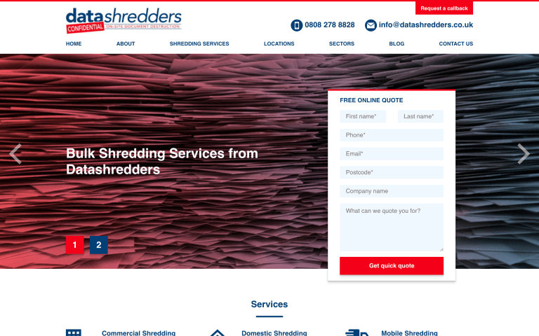 Desktop screenshot of Data Shredders homepage