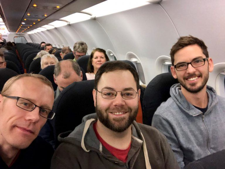 Selfie of Mark, Jonathan and Keith on the plane