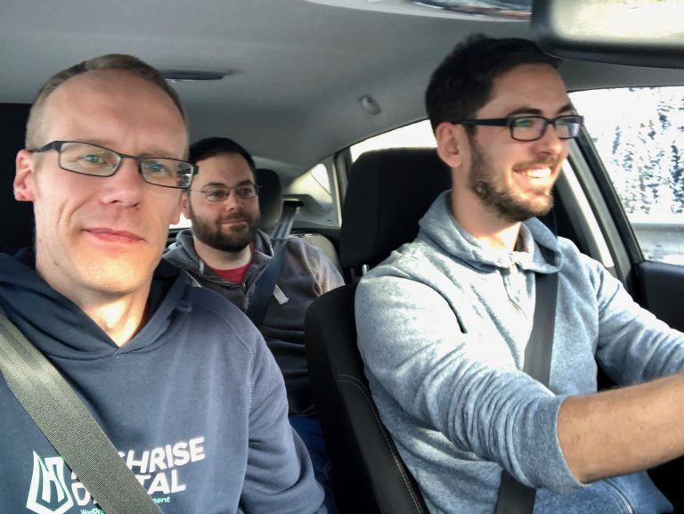 Selfie of Keith, Mark and Jonathan driving from Innsbruck to Longariu