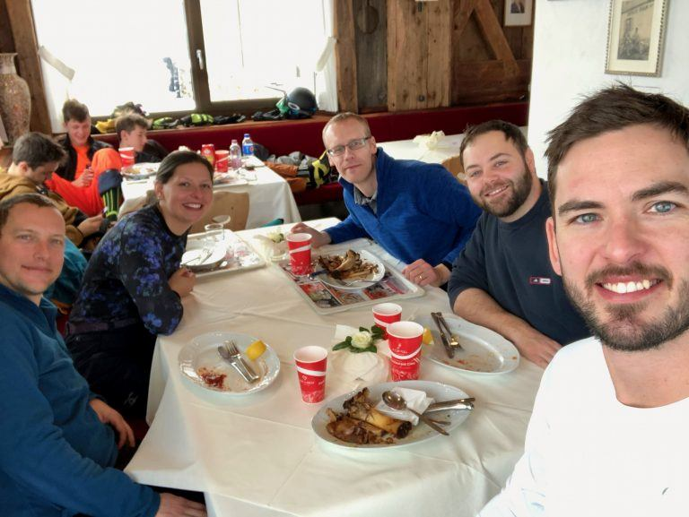 Selfie of the Highrise Digital team having lunch at the top of Kronplatz