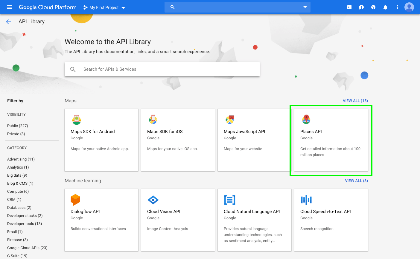 Available Google API services – with 'Places API' highlighted