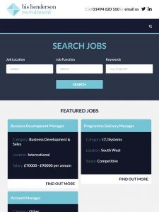 Screenshot of job search form
