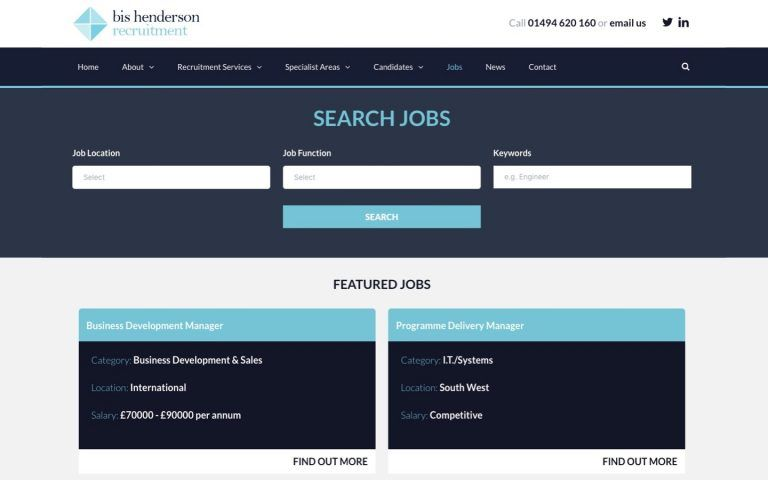 Screenshot of desktop job search form