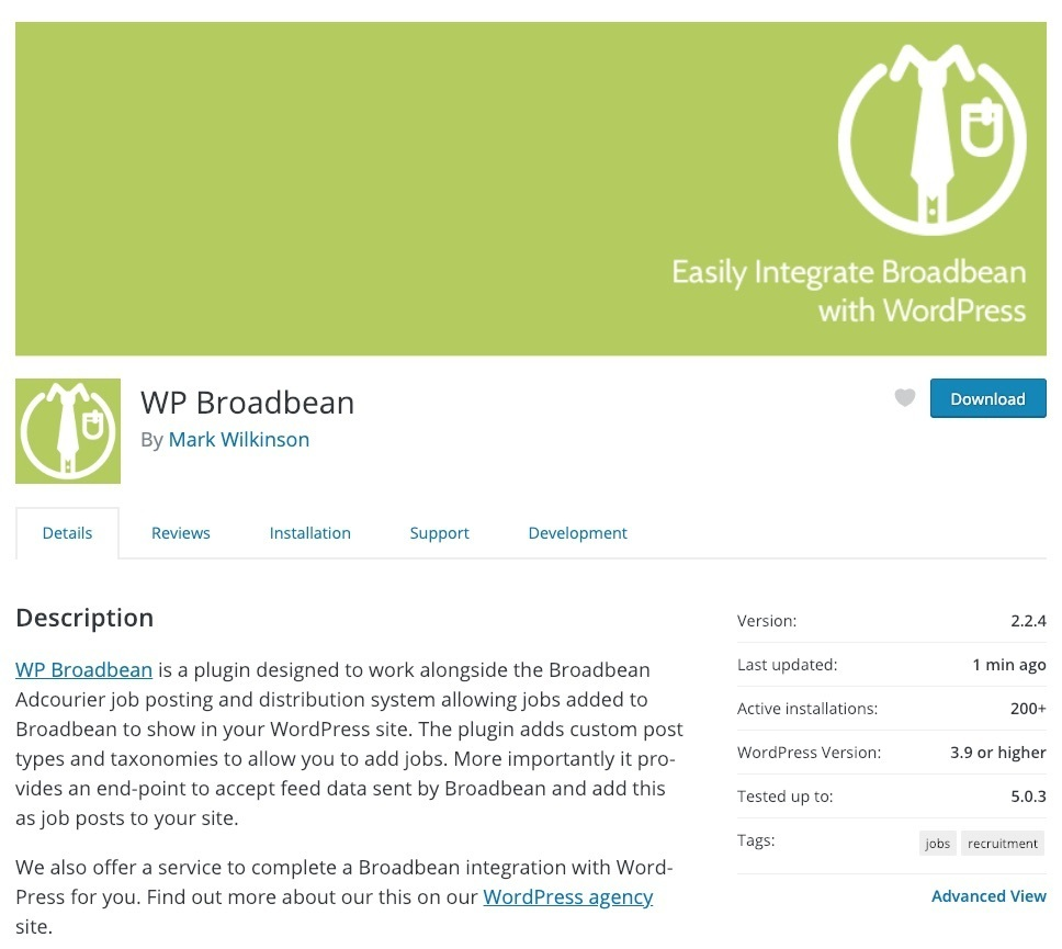 Screenshot of the WP Broadbean plugin on WordPress.org
