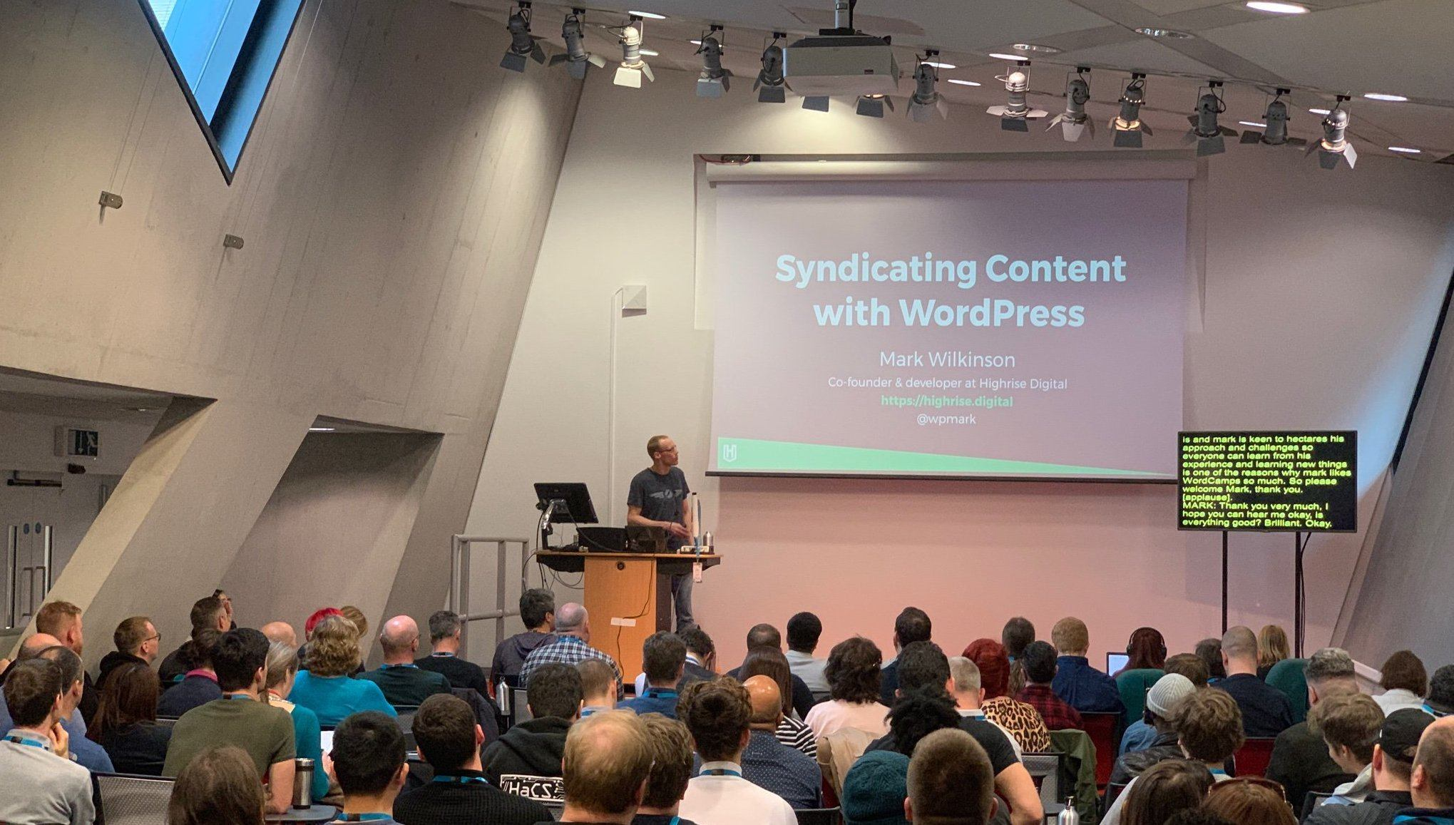 Image of Mark Wilkinson speaking at WordCamp London 2019.