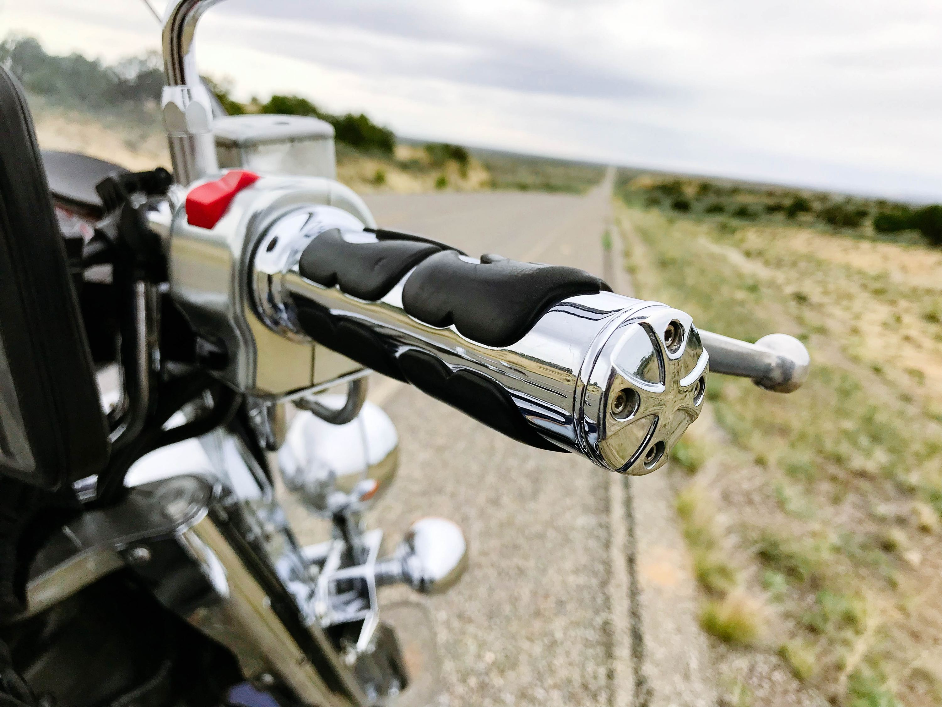 Motorcycle throttle in close focus