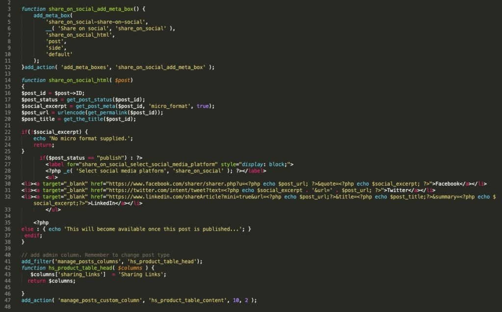 Screenshot of some messy WordPress code.