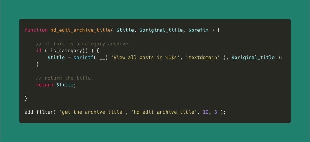 Example code snippet for editing the archive titles in WordPress